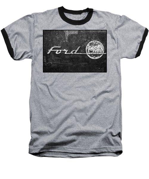 Ford F-100 Emblem On A Rusted Hood Baseball T-Shirt
