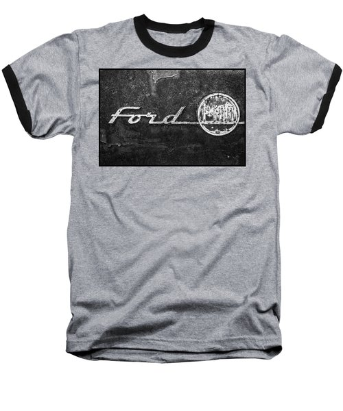 Ford F-100 Emblem On A Rusted Hood Baseball T-Shirt
