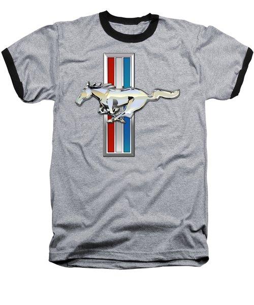 Ford Mustang - Tri Bar And Pony 3 D Badge On Black Baseball T-Shirt by Serge Averbukh