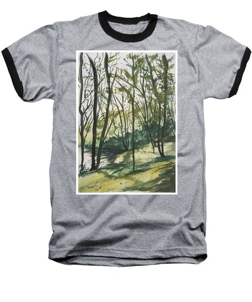 Baseball T-Shirt featuring the painting Forest By The Lake by Manuela Constantin