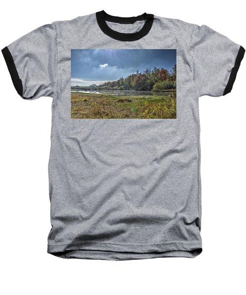 Forest Lake In Autumn Baseball T-Shirt