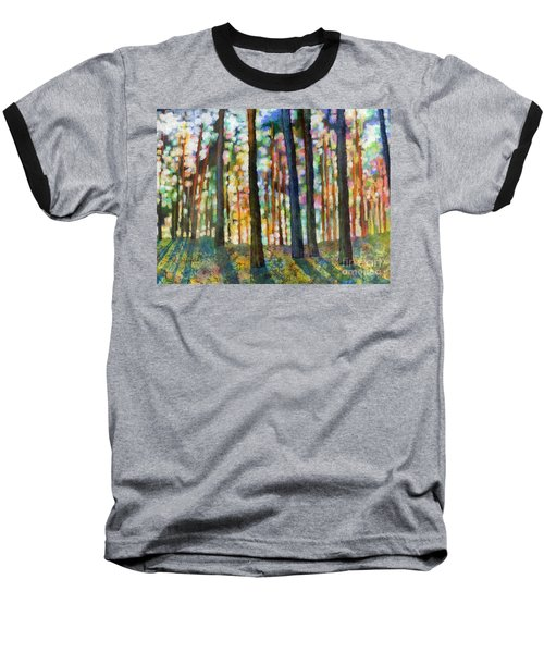 Baseball T-Shirt featuring the painting Forest Light by Hailey E Herrera