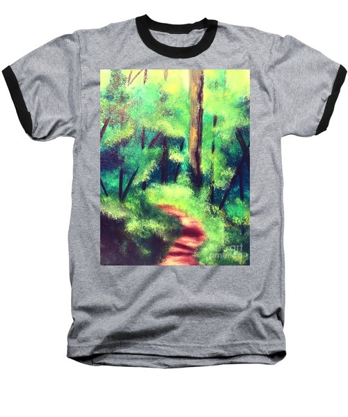 Forest Path Baseball T-Shirt by Denise Tomasura