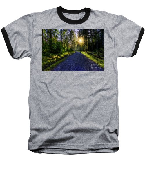 Forest Sunlight Baseball T-Shirt by Ian Mitchell