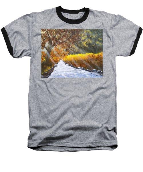 Forest Sunrays Over Water Baseball T-Shirt