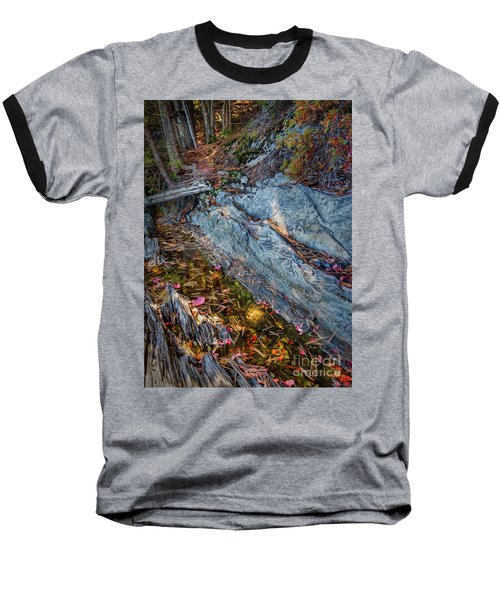 Forest Tidal Pool In Granite, Harpswell, Maine  -100436-100438 Baseball T-Shirt by John Bald
