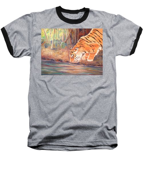 Baseball T-Shirt featuring the painting Forest Tiger by Elizabeth Lock