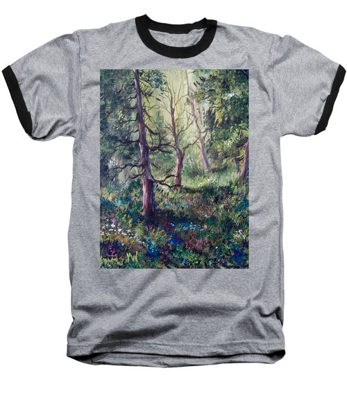 Forest Wildflowers Baseball T-Shirt by Megan Walsh