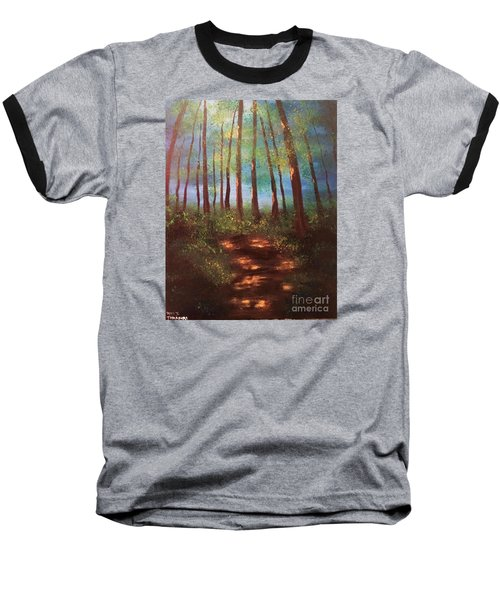 Forests Glow Baseball T-Shirt by Denise Tomasura