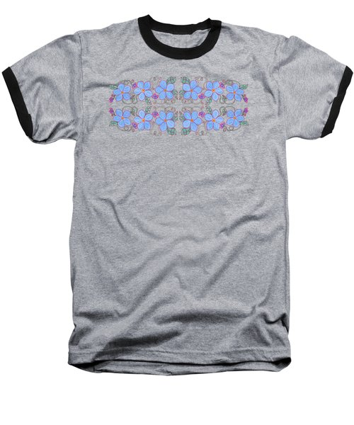 Forget Me Not Garland Baseball T-Shirt by Teresa Ascone