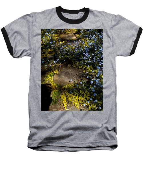 Baseball T-Shirt featuring the painting Forget-me-nots 1 by Renate Nadi Wesley