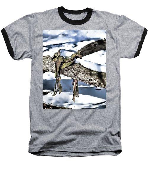 Forgotten Saddle Baseball T-Shirt by Nicki McManus