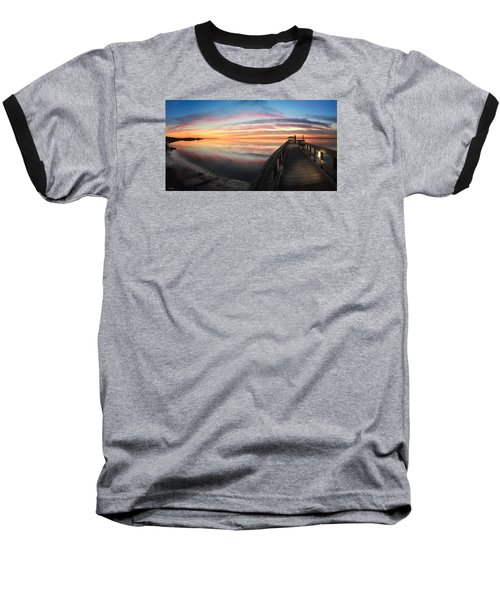 Baseball T-Shirt featuring the photograph Fort Fisher Sunset Reverie With Heron by Phil Mancuso