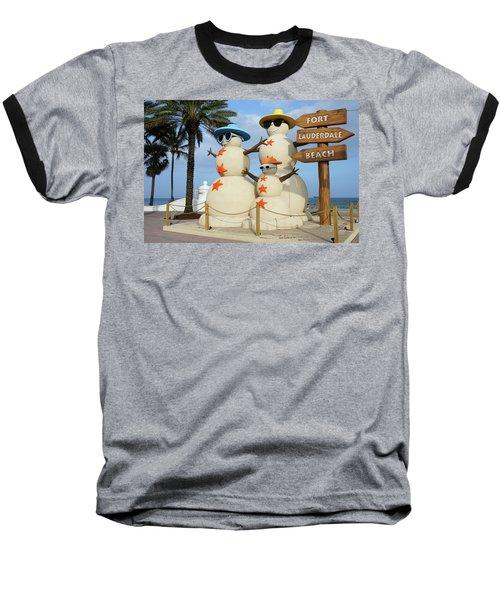 Fort Lauderdale Snowman Baseball T-Shirt