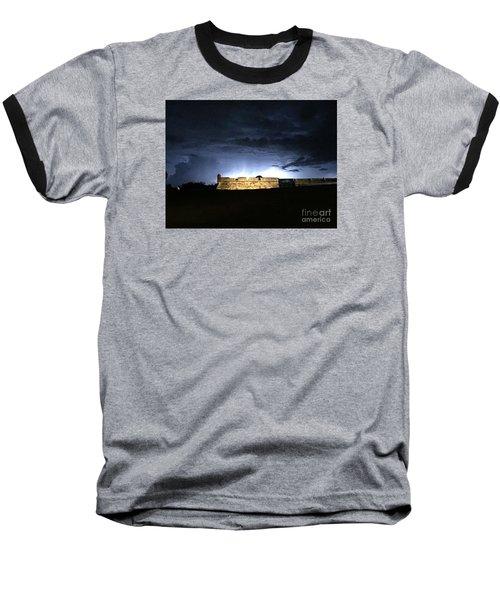 Lightening At Castillo De San Marco Baseball T-Shirt by LeeAnn Kendall