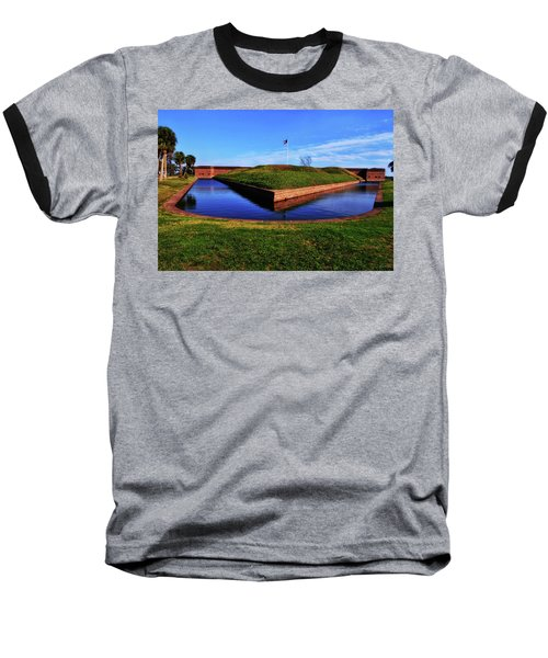 Fort Pulaski Moat - Demilune Wall 001 Baseball T-Shirt by George Bostian