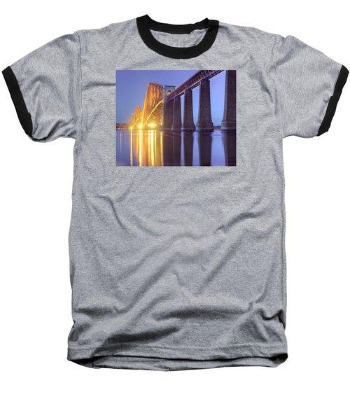 Forth Bridge Twilight Baseball T-Shirt by Ray Devlin