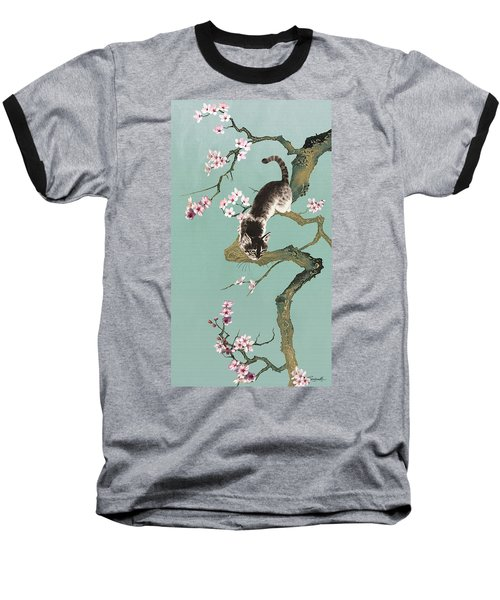 Fortune Cat In Cherry Tree Baseball T-Shirt