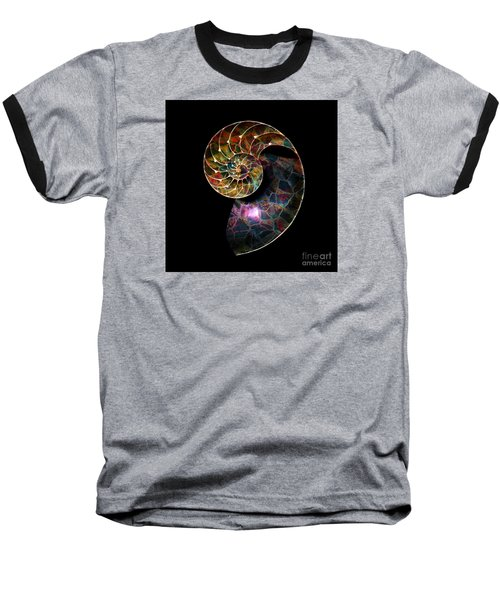 Fossilized Nautilus Shell Baseball T-Shirt