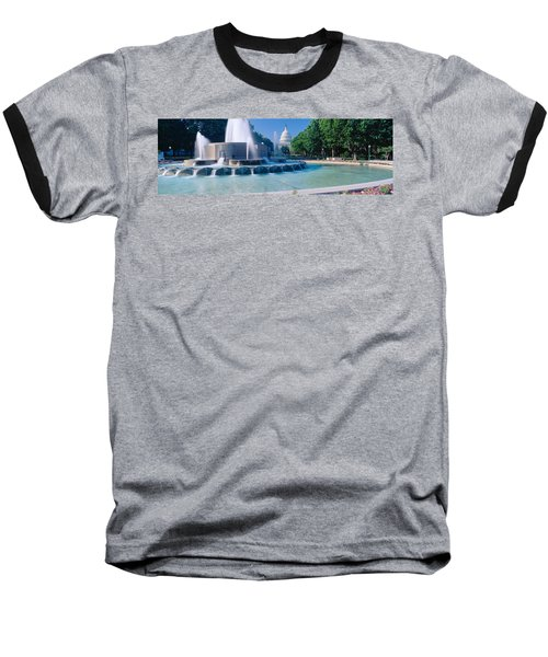 Fountain And Us Capitol Building Baseball T-Shirt
