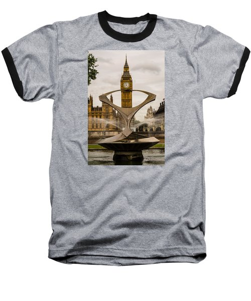 Fountain With Big Ben Baseball T-Shirt