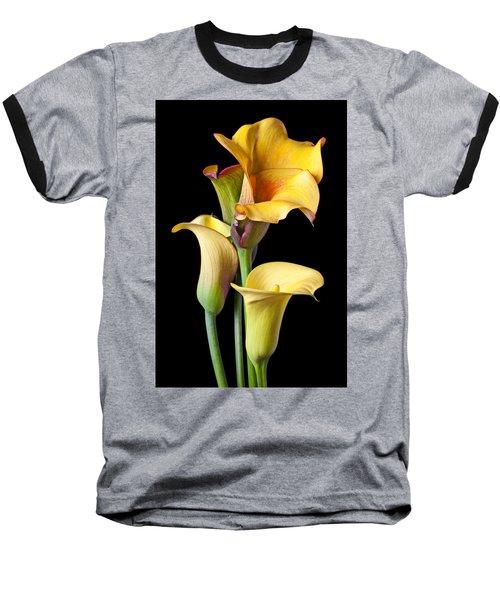 Four Calla Lilies Baseball T-Shirt by Garry Gay