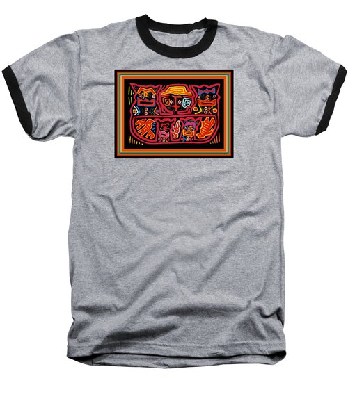 Four Cats Three Birds Baseball T-Shirt by Vagabond Folk Art - Virginia Vivier