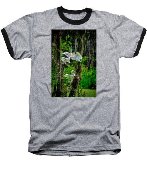 Four Egrets In Tree Baseball T-Shirt