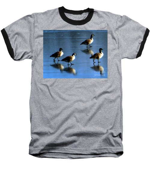 Four Geese Walking On Ice Baseball T-Shirt