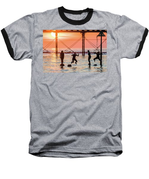 Four Girls Jumping Into The Sea At Sunset Baseball T-Shirt