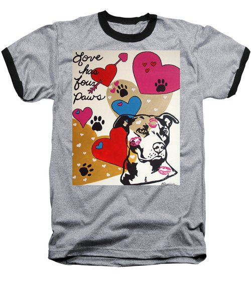 Four Pitty Paws Baseball T-Shirt by Melissa Goodrich