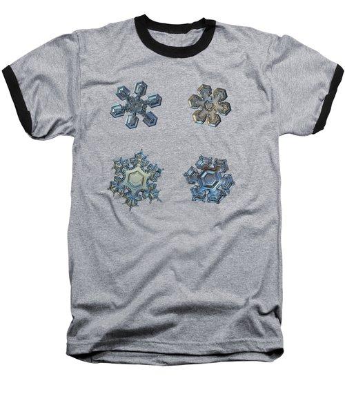 Four Snowflakes On Black 2 Baseball T-Shirt