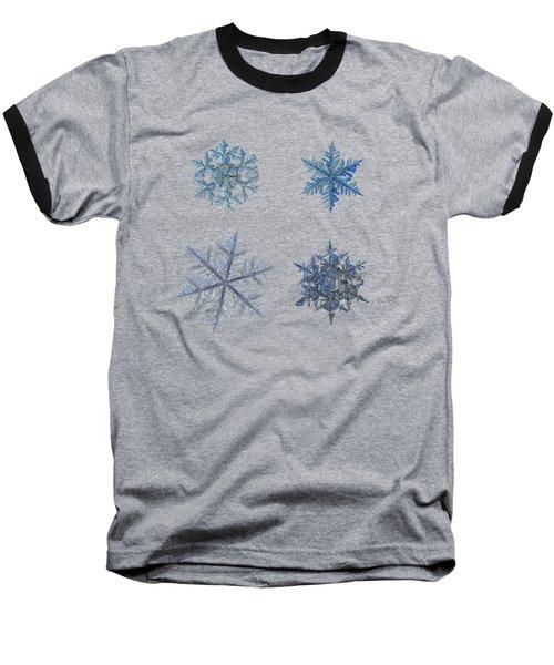 Four Snowflakes On Black Background Baseball T-Shirt