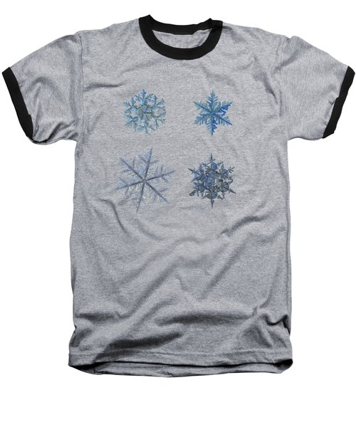 Baseball T-Shirt featuring the photograph Four Snowflakes On Black Background by Alexey Kljatov
