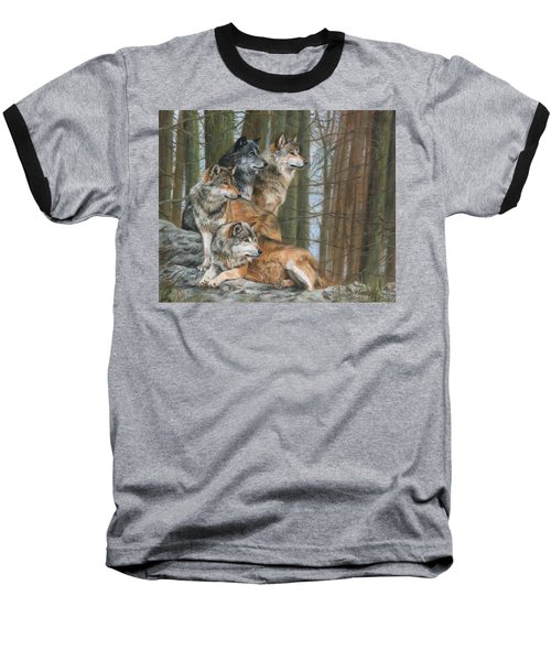 Baseball T-Shirt featuring the painting Four Wolves by David Stribbling