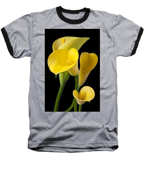 Four Yellow Calla Lilies Baseball T-Shirt by Garry Gay