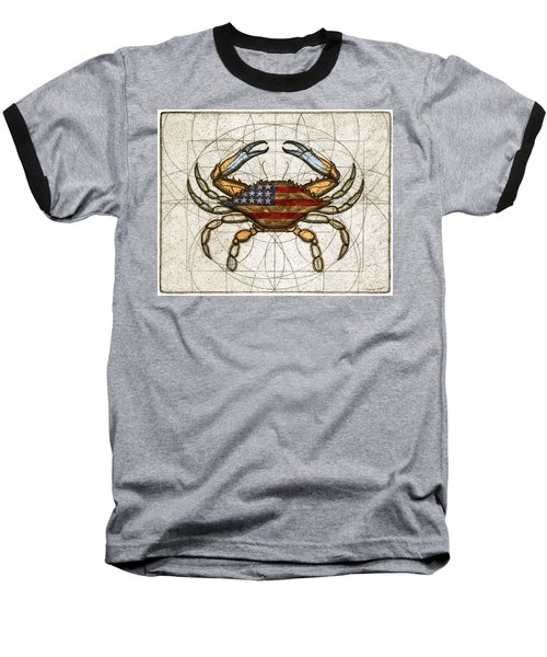 Fourth Of July Crab Baseball T-Shirt by Charles Harden