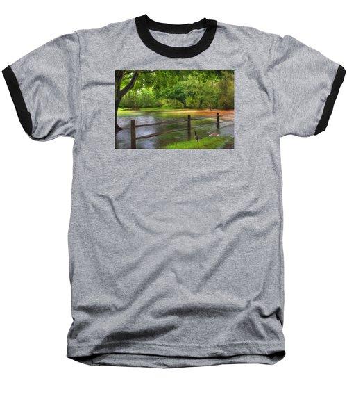 Fourth Street Flood Baseball T-Shirt by Sharon Batdorf