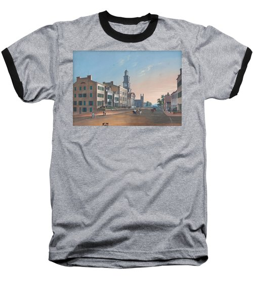 Baseball T-Shirt featuring the painting Fourth Street. West From Vine by John Caspar Wild