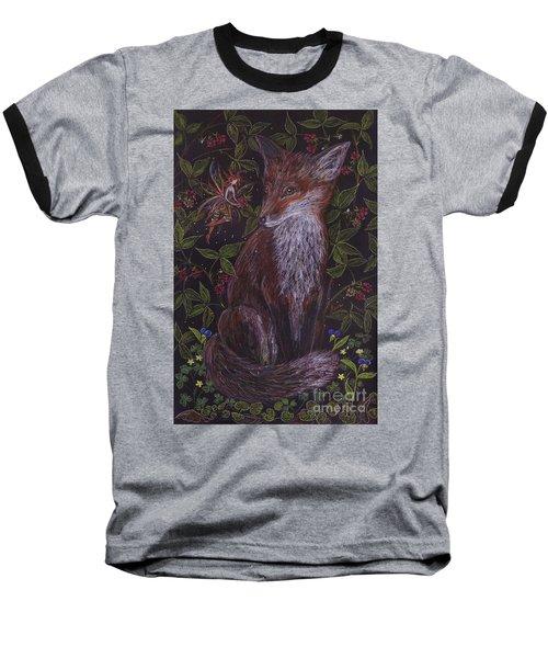 Fox In The Berry Bushes Baseball T-Shirt by Dawn Fairies