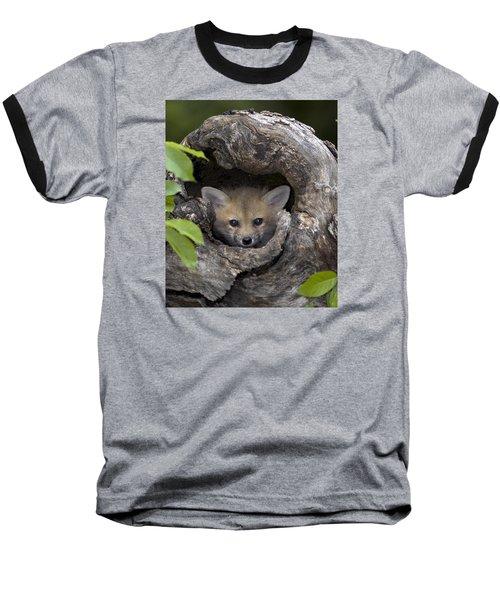 Fox Kit In Log Baseball T-Shirt