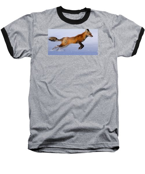 Fox On The Run Baseball T-Shirt by Paul Marto