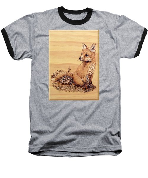 Baseball T-Shirt featuring the pyrography Fox Pup by Ron Haist