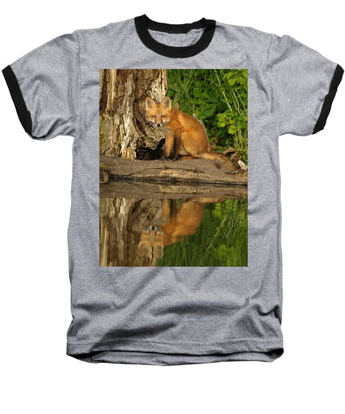 Fox Reflection Baseball T-Shirt by James Peterson