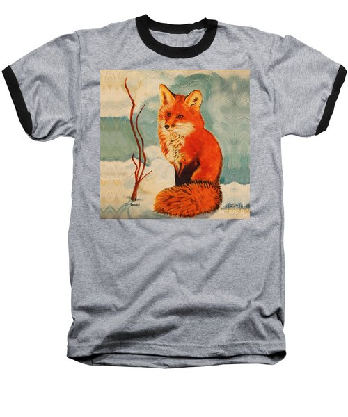 Baseball T-Shirt featuring the painting Foxy Presence Throw Pillow by Janet McDonald