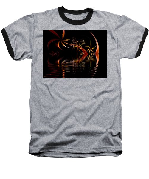 Fractal Fireworks Reflections Baseball T-Shirt