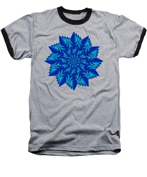 Fractal Flower In Blue Baseball T-Shirt