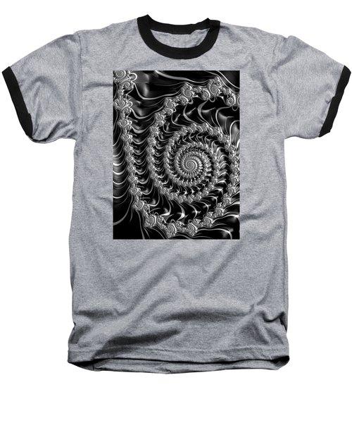 Fractal Spiral Gray Silver Black Steampunk Style Baseball T-Shirt