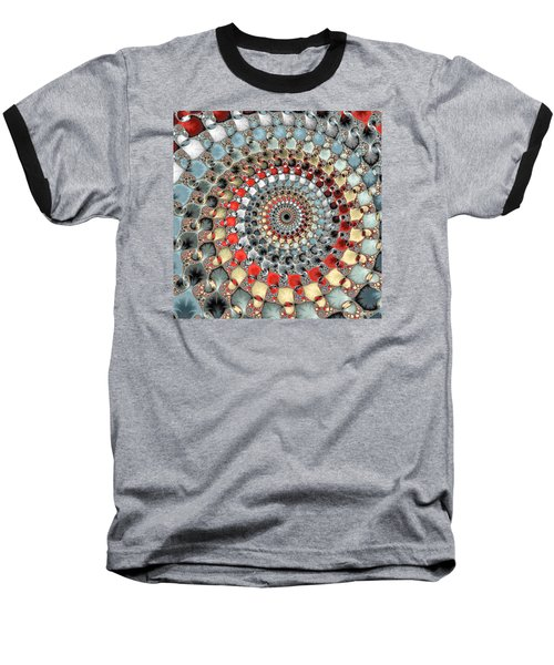 Fractal Spiral Red Grey Light Blue Square Format Baseball T-Shirt