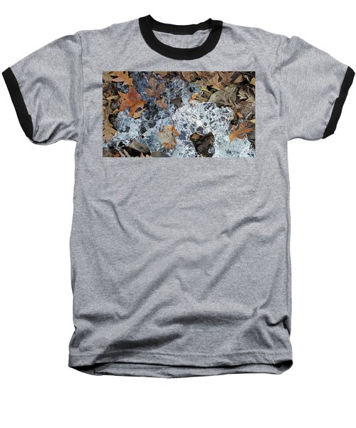 Fractured Ice Among Fall Leaves Baseball T-Shirt
